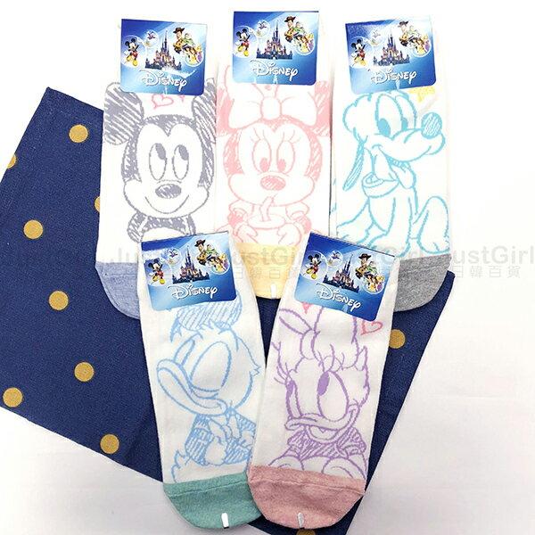 迪士尼 成人 襪子 短襪 船型襪 韓國襪 寶寶系列 米奇米妮布魯托唐老鴨黛西 39元 韓國製造進口 JustGirl