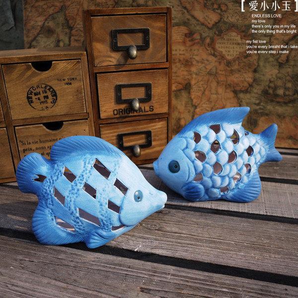 【海之藍:鏤空魚燭臺】美式鄉村 趣味陶瓷擺件 結婚禮物家居飾品(一個價)(圖一)