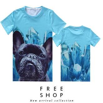 Free Shop【QFSLY2269】日韓美式潮流冰柱鬥牛犬造型滿版圓領棉質短T短袖上衣潮T