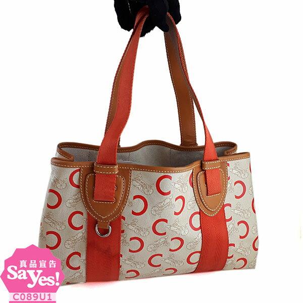 【奢華時尚】CELINE 珊瑚紅色經典徽章LOGO肩背托特包(八成新) #21392