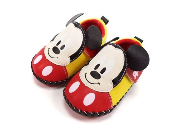 EMMA商城^~童鞋 迪士尼Disney日系風米奇柔軟寶寶學步鞋紅色13~15.5號