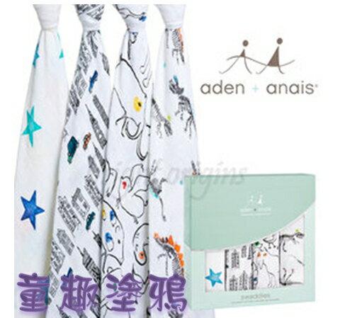 【淘氣寶寶】Aden + Anais全款式 聯名設計雙層細紗布輕柔新生兒包巾(4入裝) FBPPL 0