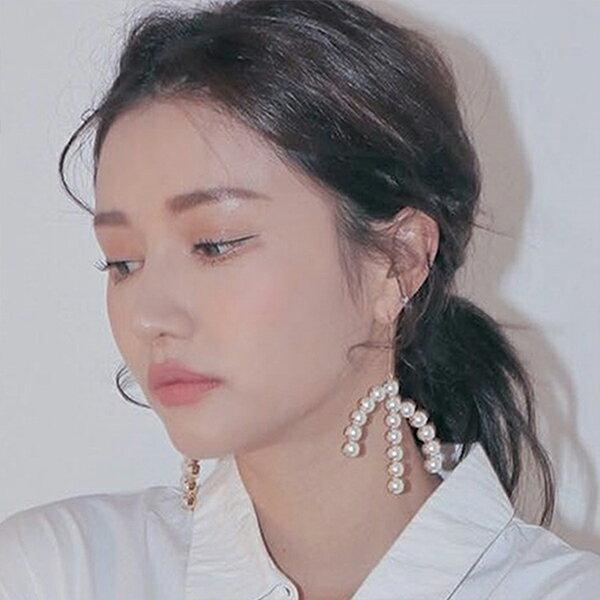 PSMall韓系個性誇張幾何閃鑽樹杈珍珠耳環時尚百搭爪形長款流蘇耳勾耳飾【G074】