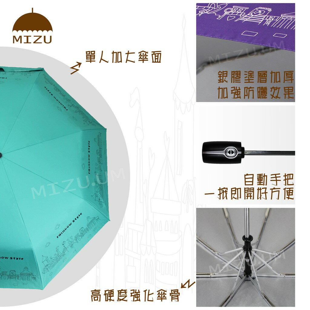 【MIZU】抗風防曬自動傘-波浪點點花/10色 防曬 抗UV 晴雨兩用