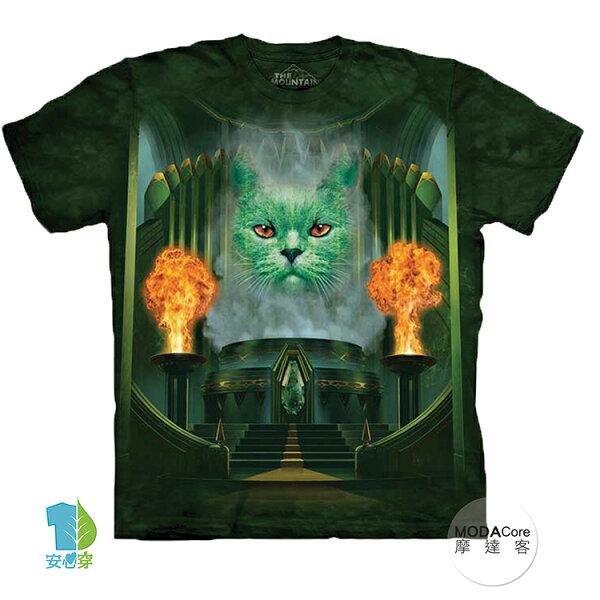 【摩達客】(預購)美國進口TheMountain巫師貓咪純棉環保藝術中性短袖T恤