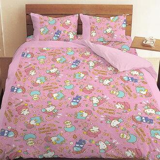 【UNIPRO】三麗鷗家族明星 Hello Kitty 雙子星 Little Twin Stars 酷企鵝 5X6.2尺 雙人床包組(枕頭套X2+床單X1) 55周年太空風 粉 三麗鷗正版授權 台灣精..