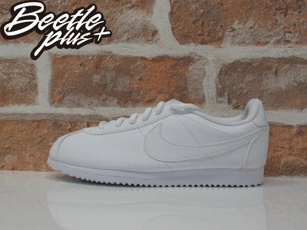 女生 BEETLE NIKE CORTEZ LEATHER 阿甘鞋 慢跑鞋 白勾 全白 復古 749502-100 D-589