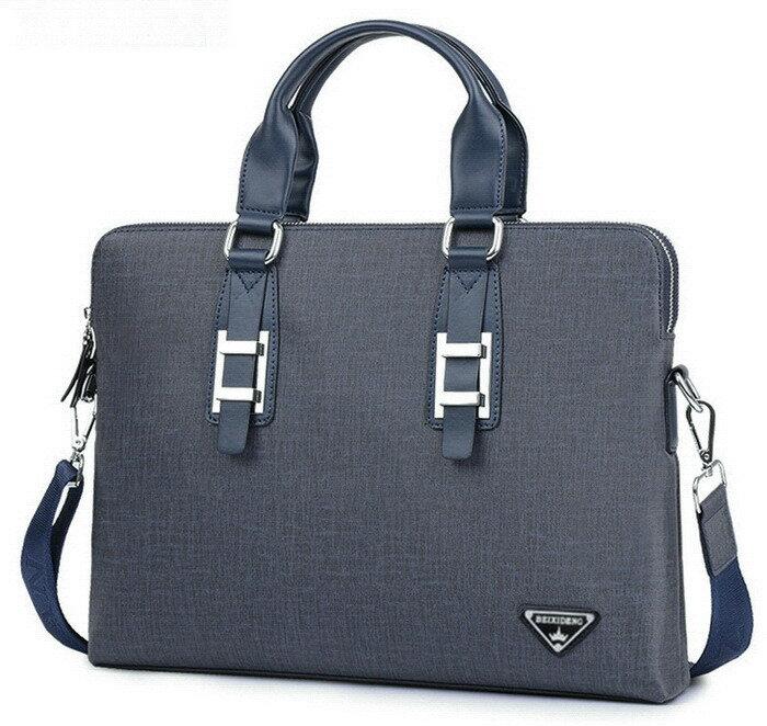 高質感防刮C 雙層拉鍊 男公事包 手提包 側背包(深藍灰色) cpb16