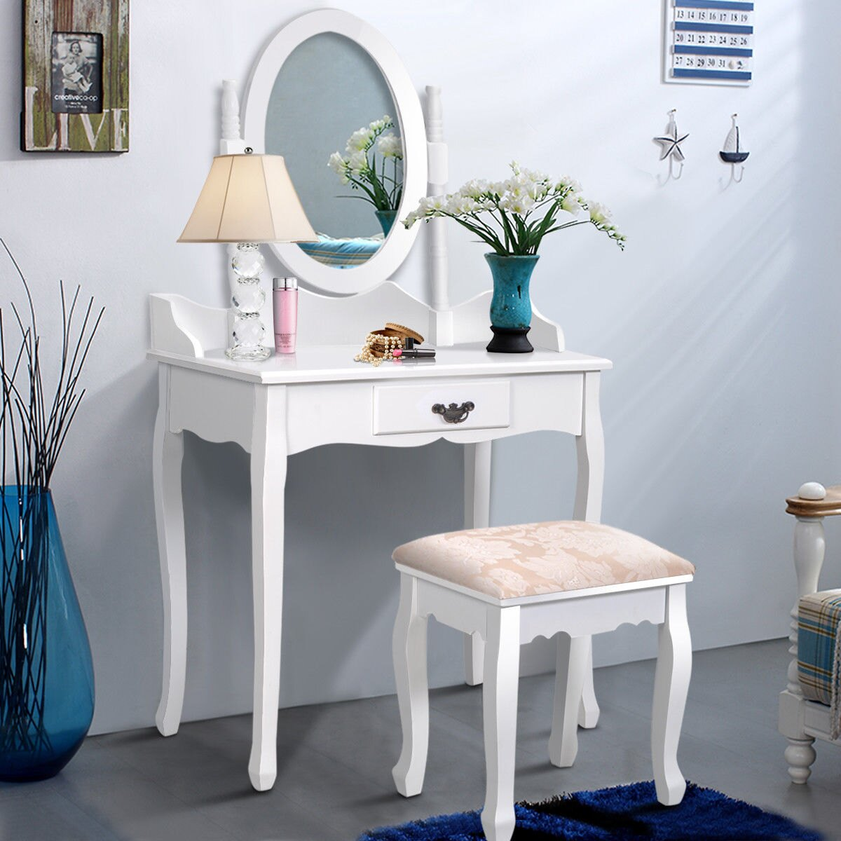 Costway Vanity Wood Makeup Dressing Table Stool Set Jewelry Desk W/ Drawer  U0026Mirror Bathroom White