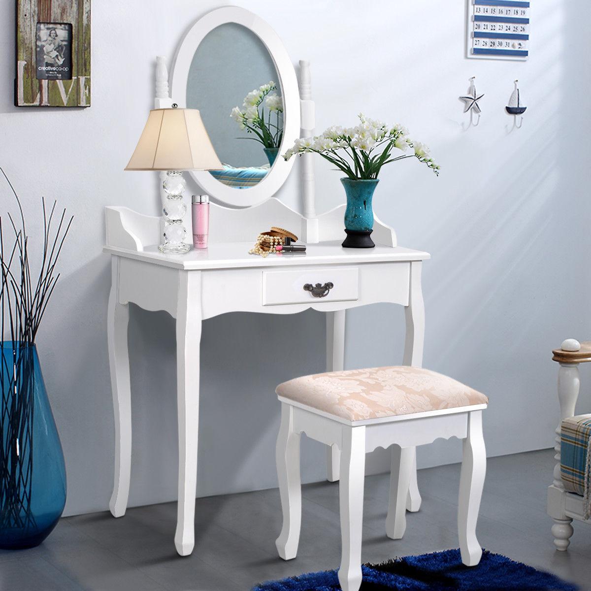Costway Vanity Wood Makeup Dressing Table Stool Set Jewelry Desk W Drawer Mirror Bathroom White