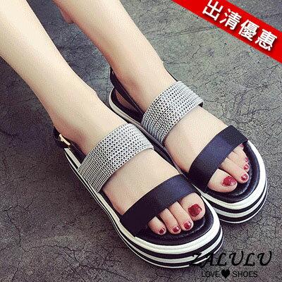 zalulu愛鞋館 FE028現貨韓系一字帶個性配色厚底涼鞋-黑/綠-35-39