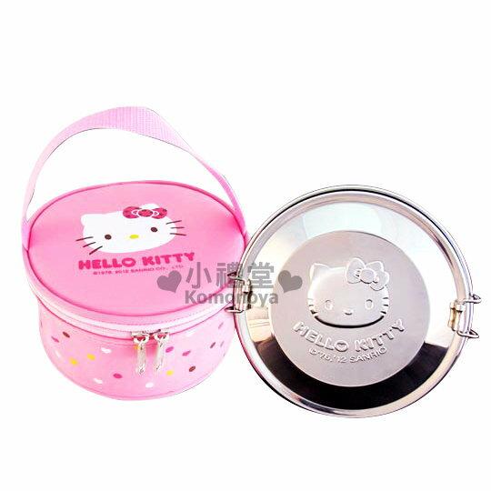 〔小禮堂〕Hello Kitty 不鏽鋼雙層便當盒《銀.KT臉》附專屬收納袋
