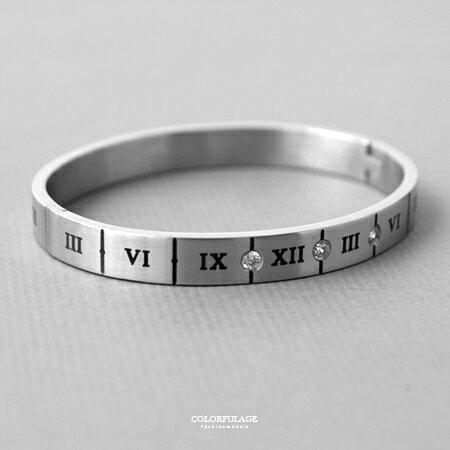 手環 神秘羅馬數字崁入閃鑽白鋼造型手環 中性單品 時尚point 柒彩年代【NA393】抗過敏抗氧化 - 限時優惠好康折扣