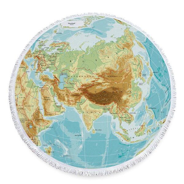 沙灘巾世界地圖印花流蘇野餐巾海灘巾圓形沙灘巾150*150【YC011】BOBI0403