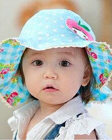 Lemonkid◆可愛蘋果女孩玫瑰花朵格紋蕾絲兒童防曬遮陽盆帽-藍色