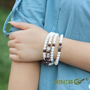 白硨磲佛珠手鏈 白硨磲108佛珠多層手鏈 多圈白硨磲手鏈