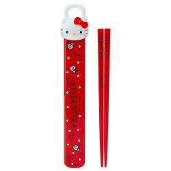 HELLO KITTY 筷子 凱蒂貓 KT 紅色大臉 造型盒 筷子組 耐熱 安全 三麗鷗 日本製 正版 授權 J00010209