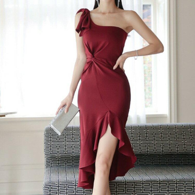 跨境2021春夏新款名媛氣質酒會宴會婚禮禮服裙不規則魚尾連衣裙
