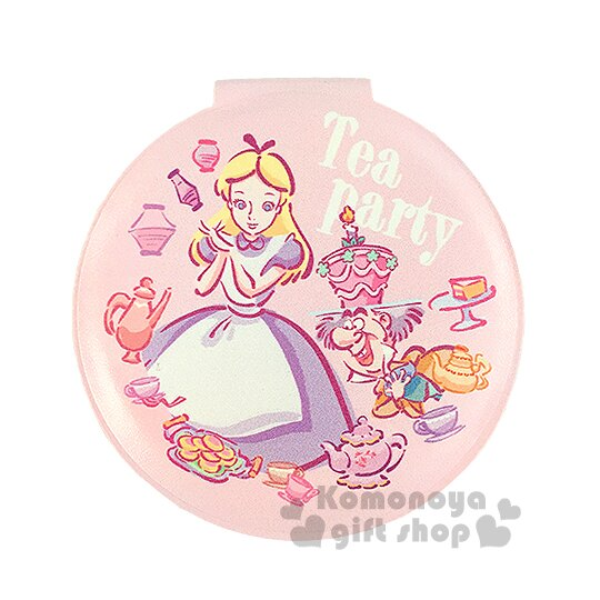 〔小禮堂〕迪士尼 愛麗絲 皮革圓型隨身鏡《粉.下午茶.手繪》放大雙面鏡