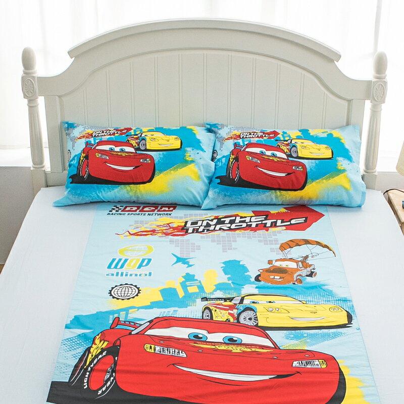 床包被套組 / 單人【Cars閃電麥坤-旅行篇】混紡精梳棉,含一件枕套,正版授權,戀家小舖,台灣製