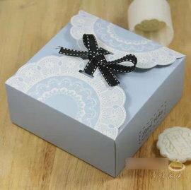 【波浪盒-藍色蕾絲-13.5*13.5*6cm-10個/組】冰皮月餅盒 蛋糕蛋撻曲奇點心糖果餅乾盒(13.5*13.5*6cm)(可混選)-8001002