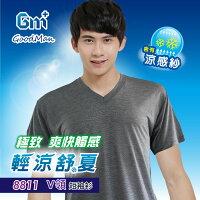 8811/天絲棉涼夏V領短袖衫/台灣製 GM+ 男性短袖衫 HI COOL機能款/大尺碼 0