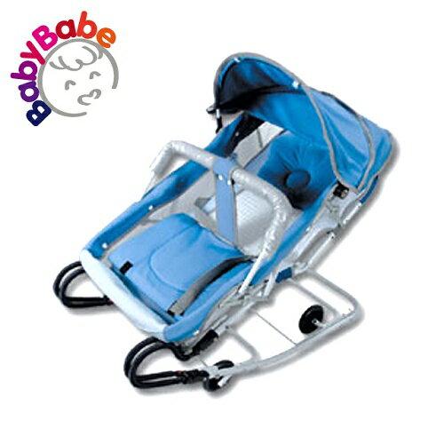 【BabyBabe】雙管加寬彈搖椅(含蚊帳)/藍