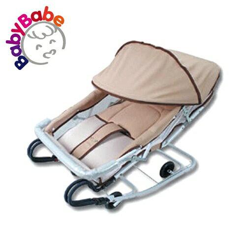 【BabyBabe】雙管加寬彈搖椅(含蚊帳)/卡其