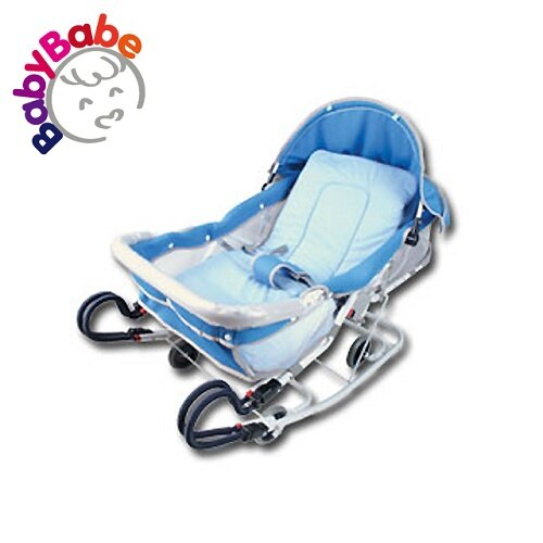 【BabyBabe】雙管加寬分段彈搖椅/藍