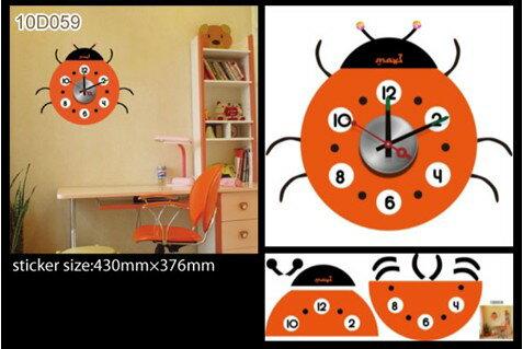 [日本Wall-Deco] 創意壁紙時鐘-大頭瓢蟲 - 限時優惠好康折扣