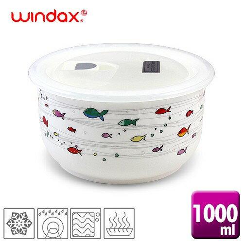 《WINDAX》熱帶魚陶瓷微波碗1000ml/(ACK-005a)