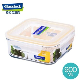【Glasslock】中方型強化玻璃保鮮盒900ml(RP522/MCSB-090)