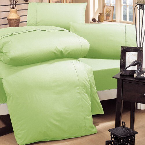 《HongYew》輕‧糖果色系素面  雙人三件式床包組─蘋果淺綠 1165_D06