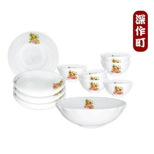 ~安妮兔~玫瑰強化耐熱瓷器碗盤組 6碗4菜1湯^(25UP~C2650^) ~  好康折扣