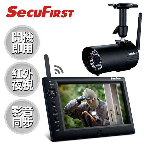 【SecuFirst】黑騎士數位無線監視錄影組(攝影機x1+主機螢幕)/DWS-B011