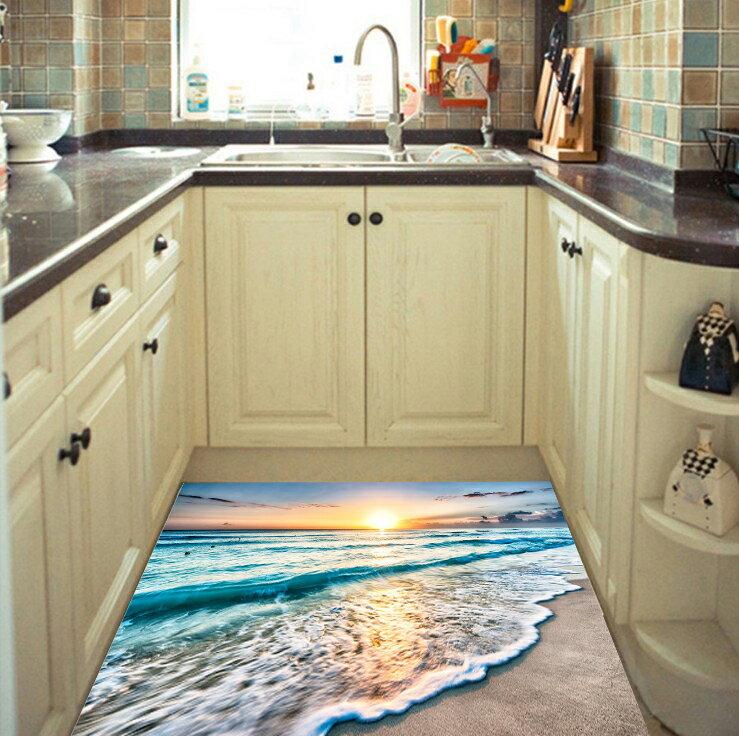 DT4393D防滑地貼紙 海灘朝陽初升 房門浴室廚房防水地板裝飾1入