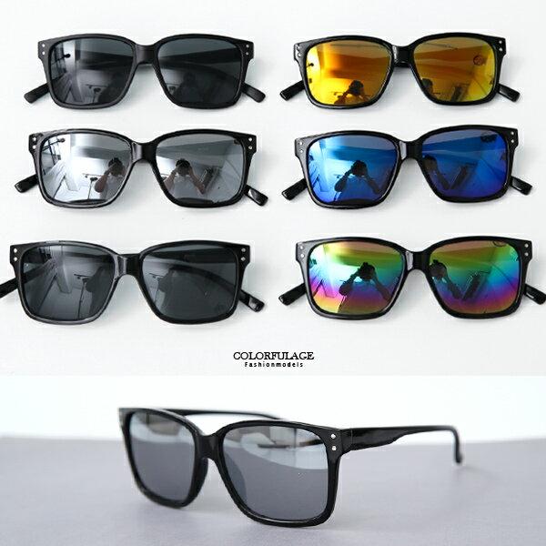 墨鏡 潮流細版銀點方型膠框太陽眼鏡 抗UV400【NY431】
