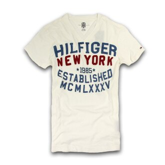 美國百分百【Tommy Hilfiger】T恤 TH 男 V領 T-shirt 短袖 短T 白色 復古 文字 XS S號 F214