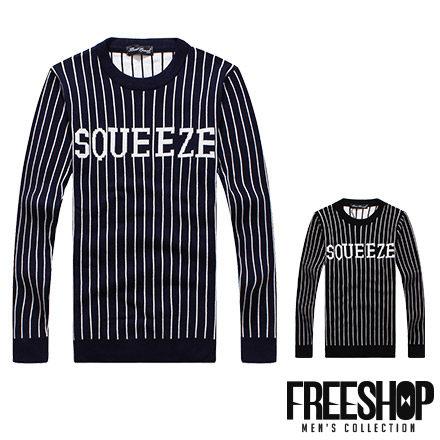 針織毛衣 Free Shop~QJFK3817~美式休閒SOUEEZ字母印花直條紋保暖舒適