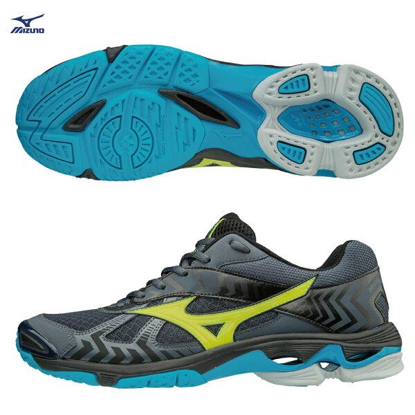 V1GA186047〈深丈青X螢光綠)WAVEBOLT7高避震排球鞋【美津濃MIZUNO】