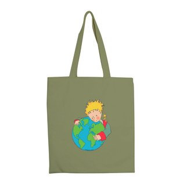 【小王子經典版】彩色手提購物包-第七個星球地球(軍綠)