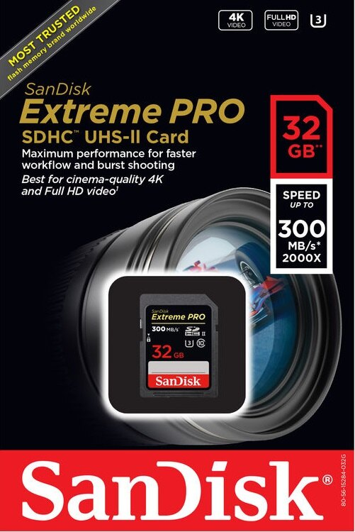 SanDisk 32GB SDHC Extreme Pro USH-II 300MB/s 2000X U3 4K 32G SD C10 Class 10 Flash Memory Card 300 MB/s Read 260 MB/s Write SDSDXPK-032G with OEM USB 3.0 Card Reader 1