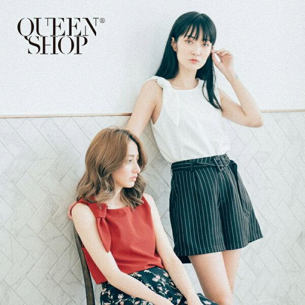 QueenShop【01051362】素色單綁結造型無袖雪紡上衣兩色售*預購*