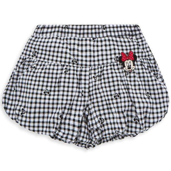 Dinsey米妮系列格紋甜心球型短褲-黑色