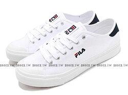 Shoestw【1C910S110】FILA CLASSIC KICKS 帆布鞋 休閒鞋 白深藍 男生尺寸