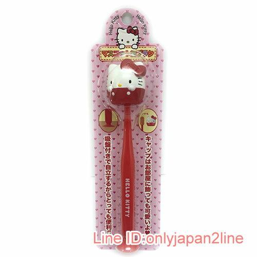 【真愛日本】17030900007 造型牙刷付吸盤-KT紅AAF 三麗鷗 凱蒂貓 kitty 牙刷 衛浴組