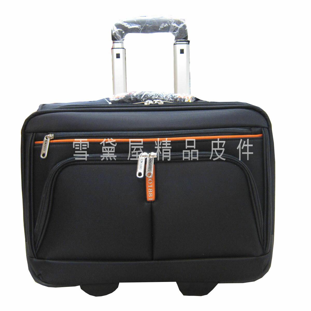 ~雪黛屋~美國18NINO81 16吋商務型拉桿箱大容量手提肩背斜側拉桿式多夾層多袋口可放電腦超輕量型防水材質U8588