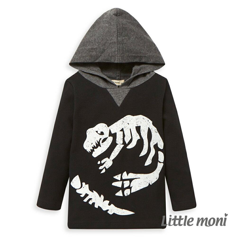 Little moni 恐龍化石連帽上衣-黑色 0
