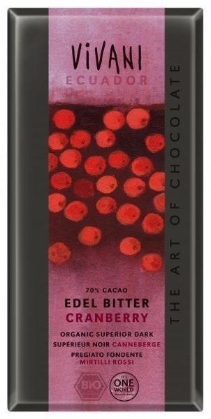 Vivani有機 70%蔓越莓巧克力 100g/片 德國原裝 不使用乳化劑