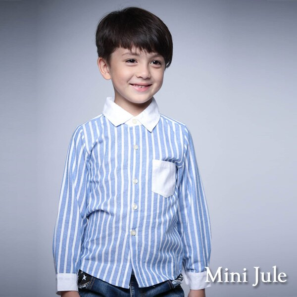 ~Mini Jule ~襯衫 直紋單口袋棉質長袖襯衫 藍